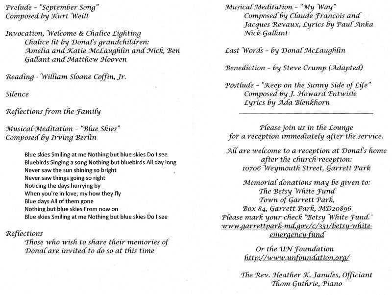 memorial service programme sample